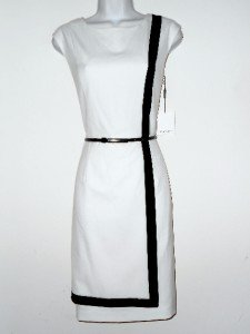 Calvin Klein CK Dress Size Sz 10 Stretch Sheath Ivory Black Stripe Belt NWT