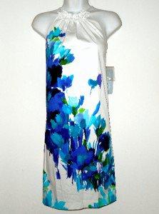 London Times Dress Sz 6 Shift Stretch Cotton White Blue Watercolor Floral NWT