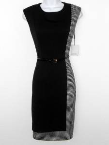 Calvin Klein Dress Size 14 Black Ivory Houndstooth Print Knit Sheath Belt NWT