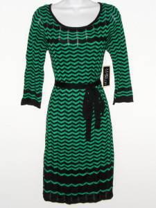 Julian Taylor Sweater Dress Size XL Green Black Zigzag Stripe Belt Boho NWT