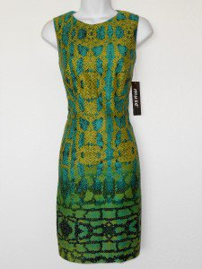 Muse Dress Size 2 Blue Green Snakeskin Print Cotton Sheath Cutout Cocktail NWT