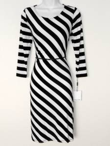 Calvin Klein Dress Size 12 Black White Striped Stretch Jersey Belt NWT