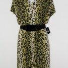 Sandra Darren Dress Size 24W Green Black Leopard Animal Print Belt Blouson NWT