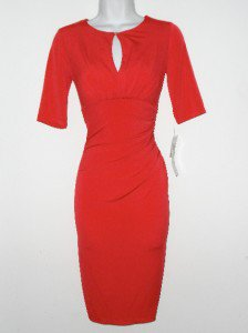 London Times Dress Size 6 Red Ruched Keyhole Stretch Jersey Grenadine NWT
