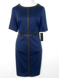 Connected Apparel Dress Size 14W Navy Blue Black Faux Leather Trim Career NWT