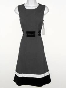 Calvin Klein Dress Size 8 Gray Black White Block Stripe Flare Belt Retro NWT