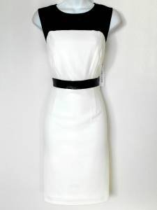 Sandra Darren Dress Size 10 Ivory Black Faux Leather Mesh Illusion Stretch NWT