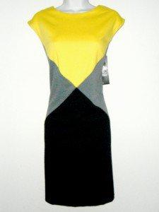 Donna Ricco Dress Size Sz 6 Sheath Black Yellow Gray Colorblock Knit NWT