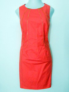Calvin Klein Dress Size 22W Coral Melon Sheath Gold Zippers Career Cocktail NWT