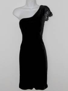 Rugby Ralph Lauren Black Dress Size 2 Velvet One Shoulder Lace Cocktail NWT $278