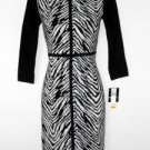 Sandra Darren Sweater Dress Size XL Black White Zebra Animal Knit NWT