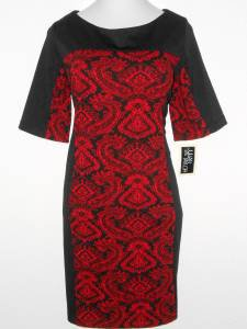 Julian Taylor Dress Size 20W Red Black Paisley Print Colorblock Knit NWT