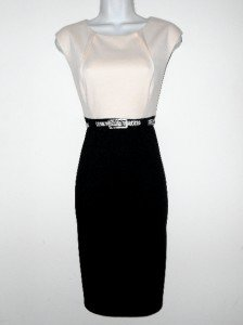 Connected Apparel Dress Size Sz 10 Sheath Ivory Black Knit Snake Belt Career New