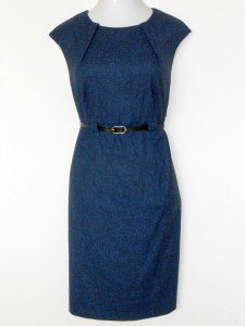 Connected Apparel Dress Size 14W Blue Sheath Belt Speckled Career Cocktail New