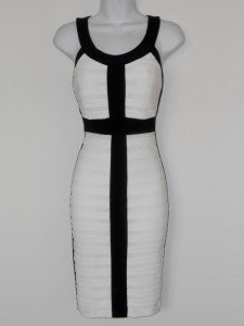 Connected Apparel Dress Size 10 Ivory Black Colorblock Shutter Pleat Stretch New