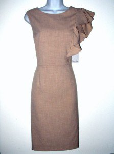 Calvin Klein Dress Size Sz 10 Sheath Sandy Beige Ruffle Career Cocktail NWT New