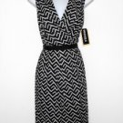 Julian Taylor Dress Sz 14 Black White Zigzag Cotton Flare Embroidered Lace NWT