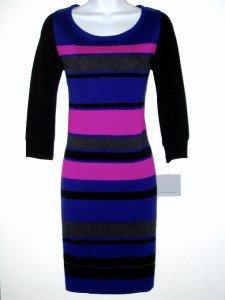 Marc New York NY Sweater Dress Medium M Med Purple Pink Black Striped Knit NWT
