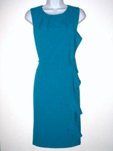 Calvin Klein CK Dress Size Sz 8 Teal Blue Green Ruffle Sheath Cocktail New