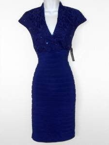 R&M Richards Dress Size 14 Deep Blue Shutter Pleat Stretch Sequins Cocktail NWT
