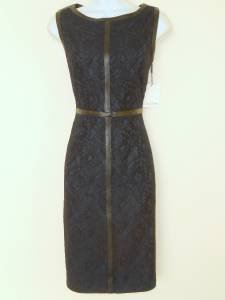 Calvin Klein Dress Size 2 Indigo Blue Black Lace Faux Leather Cocktail NWT