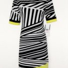 Karin Stevens Dress Sz 8 Shift Black White Geometric Stripe Lime Green Trim NWT