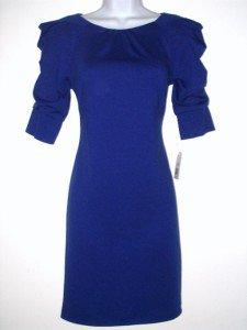 Jessica Simpson Dress Size 10 Blue Mini Knit Ruched Sleeve NWT