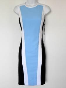 Calvin Klein Dress Size 10 Black White Blue Block Stripes Sheath Sporty New