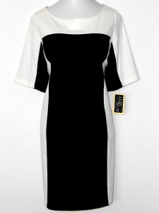 Julian Taylor Dress Size 24W Ivory Black Colorblock Knit Career Cocktail NWT