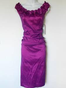 London Times Dress Size 8 Purple Berry Ruched Ruffle Stretch Taffeta NWT