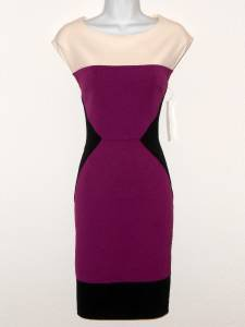 Maggy London Dress Size 8 Purple Black Ivory Colorblock Scuba Stretch NWT