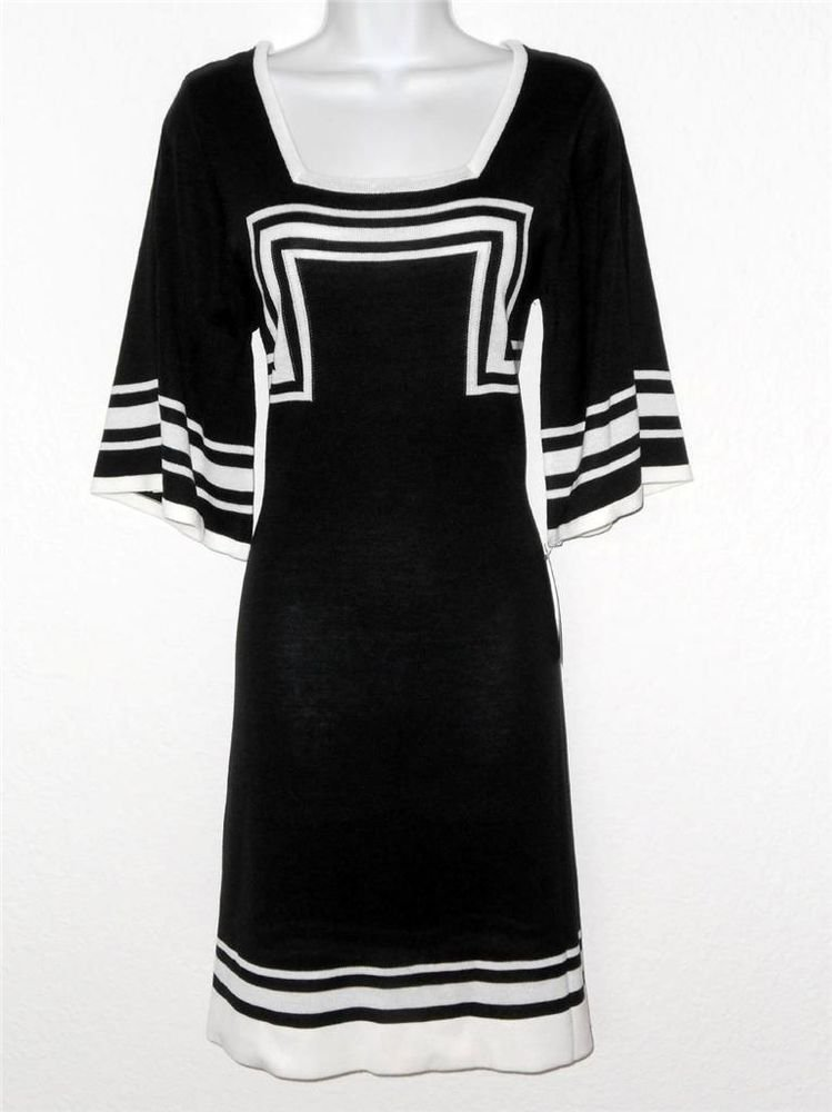 Sangria Sweater Dress Medium M Black White Geometric Stripe A-Line Knit NWT
