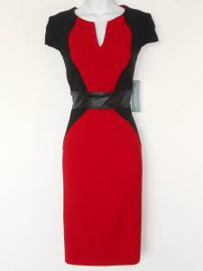 London Times Dress Size 8 Red Black Colorblock Cap Sleeve Faux Leather NWT