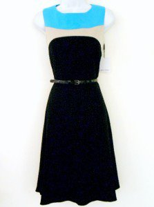 Calvin Klein CK Dress Size Sz 6 Black Blue Beige Colorblock Flare Belt NWT