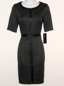 Connected Apparel Dress Size 8P Gray Black Houndstooth Faux Leather Career NWT