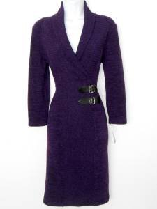 Connected Apparel Sweater Dress Size 14 Eggplant Purple Knit Buckle NWT