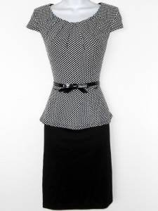 Connected Apparel Dress Size 8 Black White Polka Dot Peplum Cap Sleeve Belt