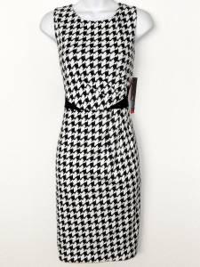 Rafaella Dress Size 8 Black White Houndstooth Print Stretch Sheath Career