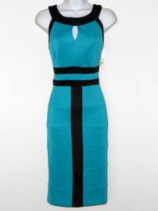Sangria Dress Size 10 Teal Black Colorblock Stripe Stretch Keyhole Cocktail NWT