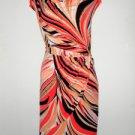Calvin Klein CK Dress Sz 3X Faux Wrap Coral Black White Swirl Print Stretch NWT