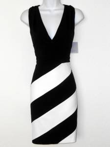 Marc NY Dress Size 2 Black White Swirl Stripe Sheath Surplice Cocktail