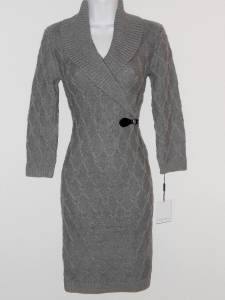 Calvin Klein Sweater Dress Large L Gray Knit Buckle Fall Winter NWT