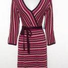 Donna Ricco Sweater Dress Medium M Purple Pink Cream Zigzag Knit Belt NWT