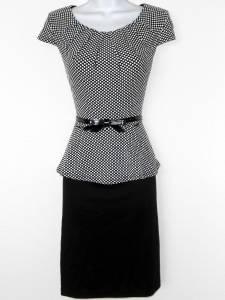Connected Apparel Dress Size 12 Black White Polka Dot Peplum Cap Sleeve Belt