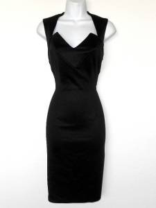 Connected Apparel Black Dress Size 6 Lace Cutout Stretch Cocktail Sexy New