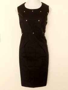 Calvin Klein Black Dress Size 20W Stretch Cotton Sheath Gold Beads NWT