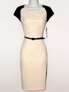 Maggy London Dress Size 10 Ivory Black Colorblock Scuba Cap Sleeve Belt NWT