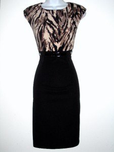 Connected Apparel Dress Size Sz 8P Brown Black Animal Print Sheath Belt New