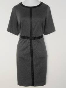 Connected Apparel Dress Size 14W Gray Black Faux Leather Trim Career New