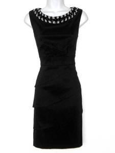 Connected Apparel Black Dress Size 16 Shutter Pleat Sheath Jewel Bib Necklace